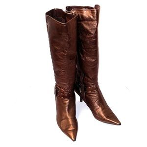 Vintage Copper Leather high heeled boot
